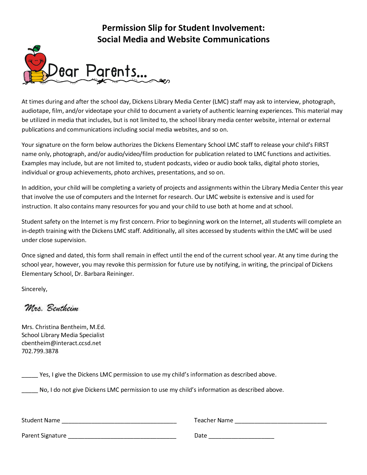 Parent Permission Slip For Social Media Needs To Be Edited To Fit The School
