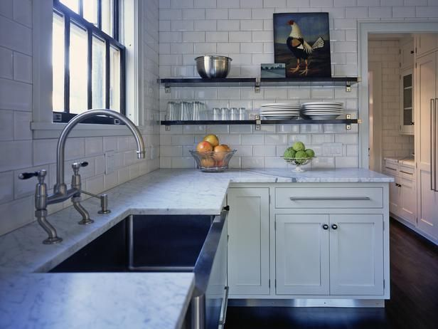 15 design ideas for kitchens without upper cabinets black shelves hgtv and wall colors on farmhouse kitchen no upper cabinets id=68219