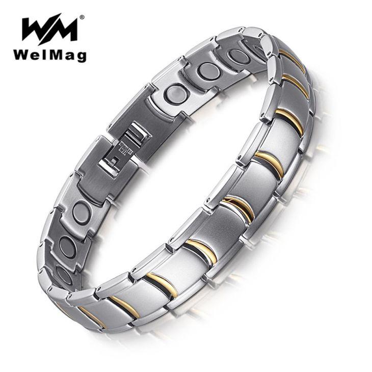 WelMag Healing Magnetic Male Bracelets u Bangles Stainless Steel