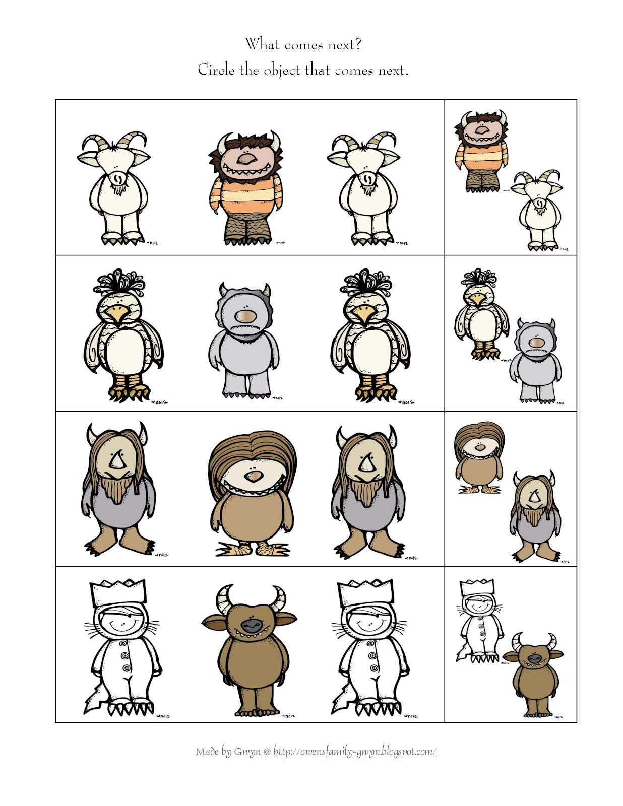 Preschool Printables Where The Wild Things Are