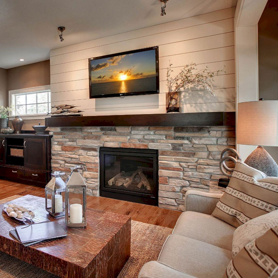 45 Modern Family Room With Beautiful Stone And Shiplap