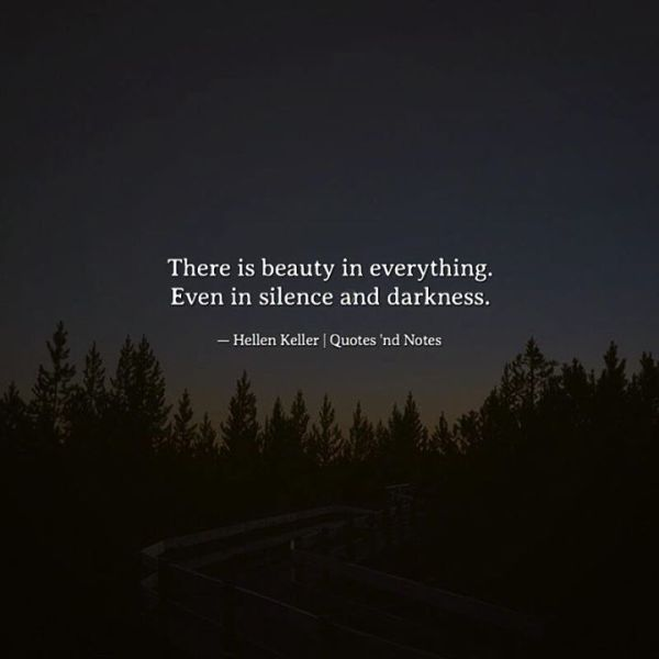 There is beauty in everything Even in silence and