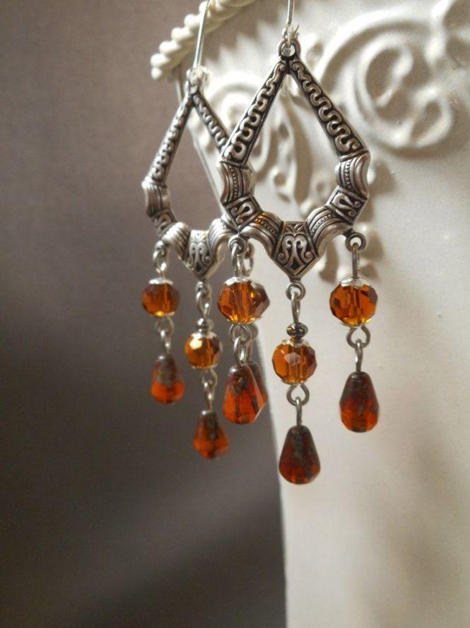 Outlander Amber Glass Earrings Chandelier Jewelry Diana Gabaldon 18th Century