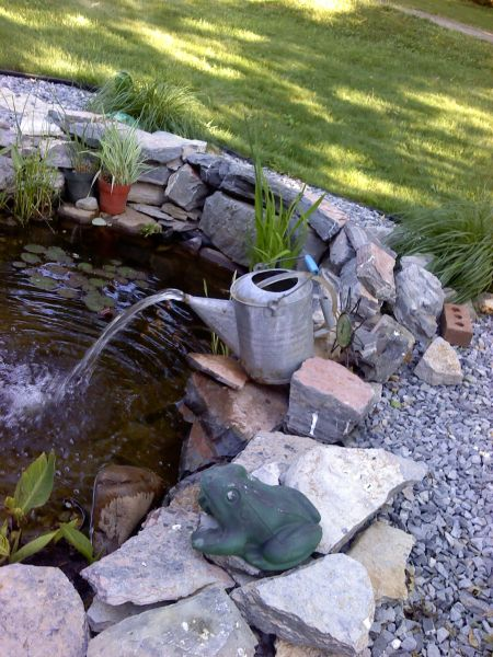 outdoor water fountain garden pond Our fish pond with watering can fountain | For my garden