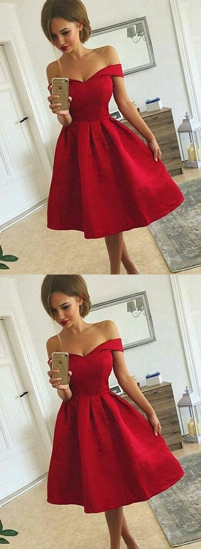 Cute A line off shoulder short prom dress homecoming dress