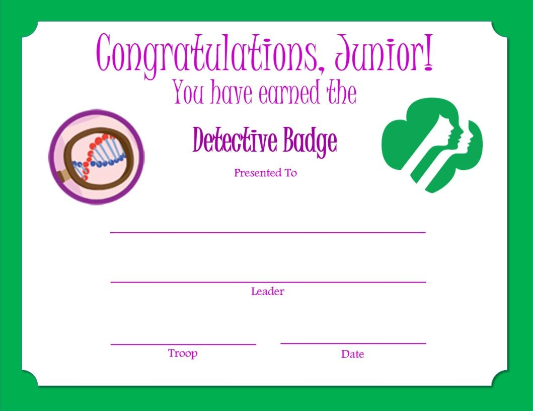 Junior Detective Badge Certificate
