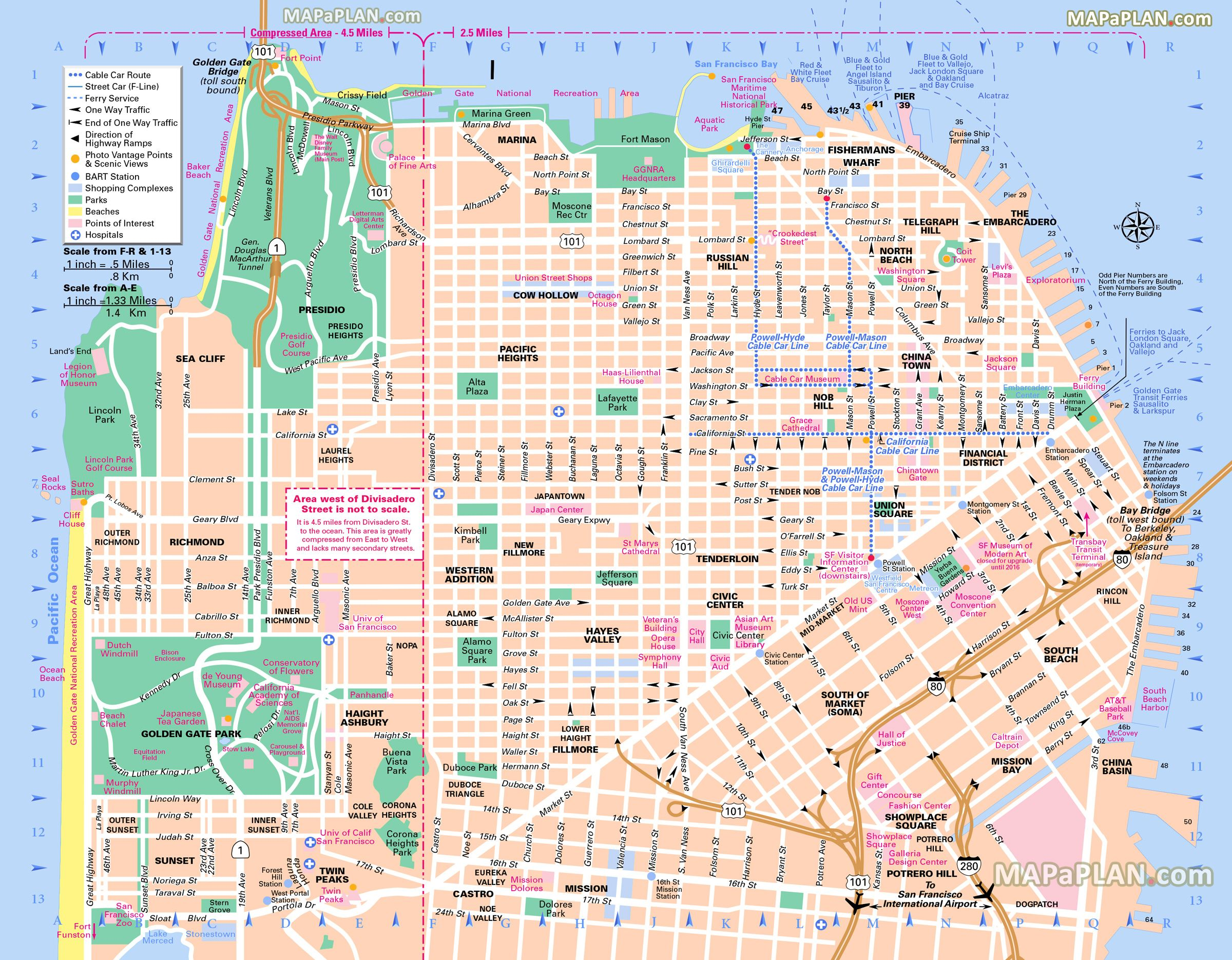 San Francisco Top Tourist Attractions Map 06 Free Map Main Landmarks Great Sights Most Popular