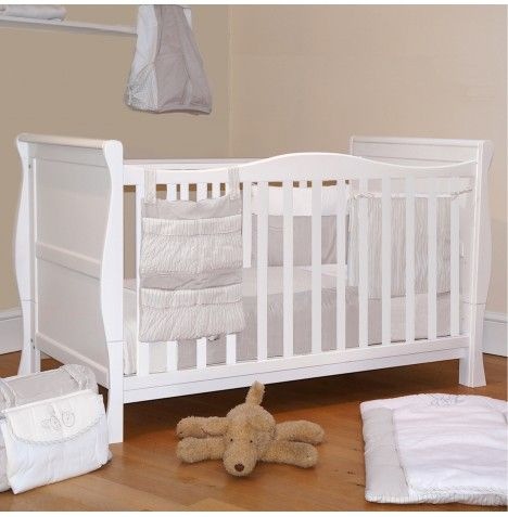 4baby 3 In 1 Sleigh Cot Bed With Deluxe Foam Mattress White