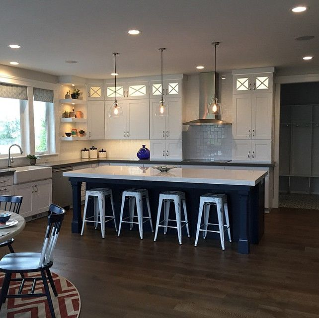 white kitchen with navy blue island kitchen with white cabinets and navy kitchen island on kitchen decor navy id=68884