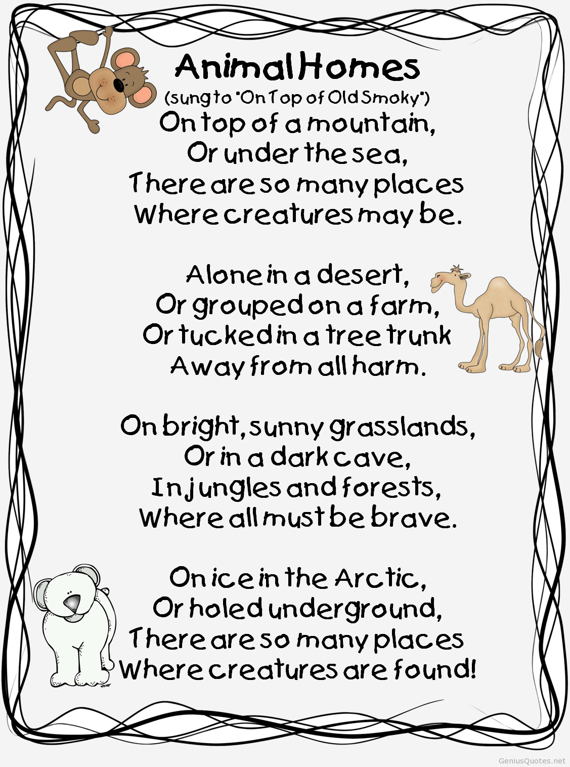 Poem About Animals Homes