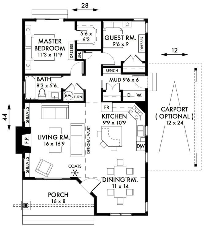 Stylish Two Bedroom House Plans To Realize Awesome Cabin Cottage Floorplan With Small Bath And A Mudroom Also Open