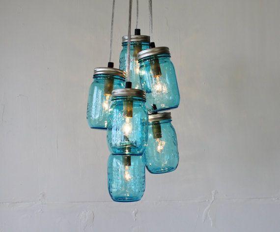 Feelin Blue Mason Jar Chandelier Featuring 6 By Bootsngus 175 00
