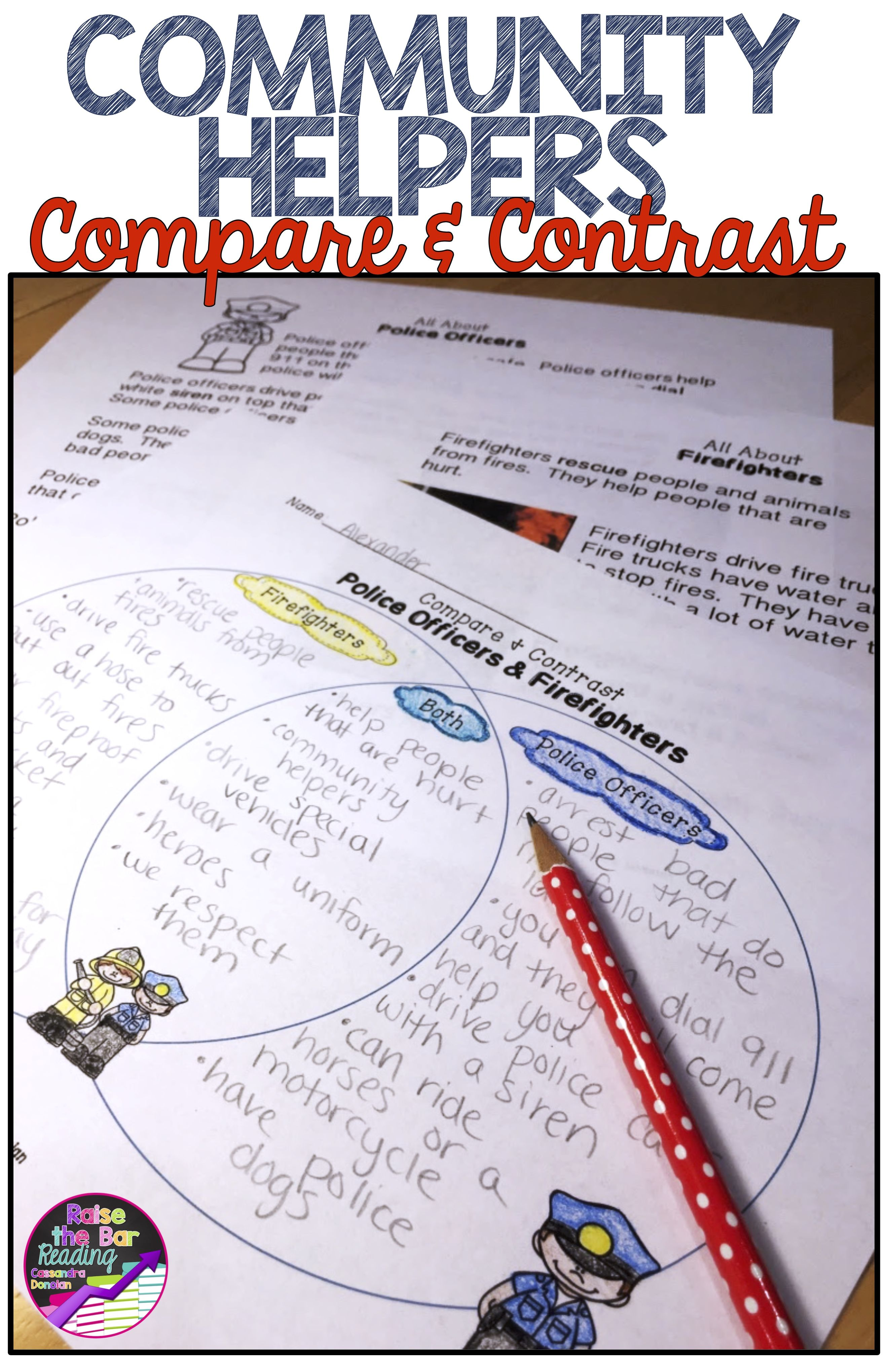 Community Helpers Reading Passages With Compare Amp Contrast