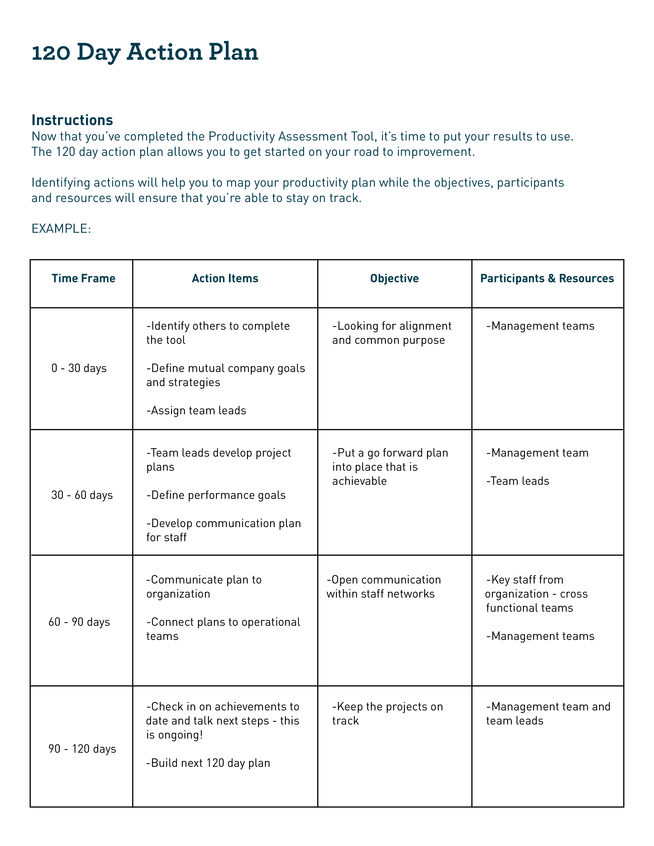 120 Day Action Plan Template