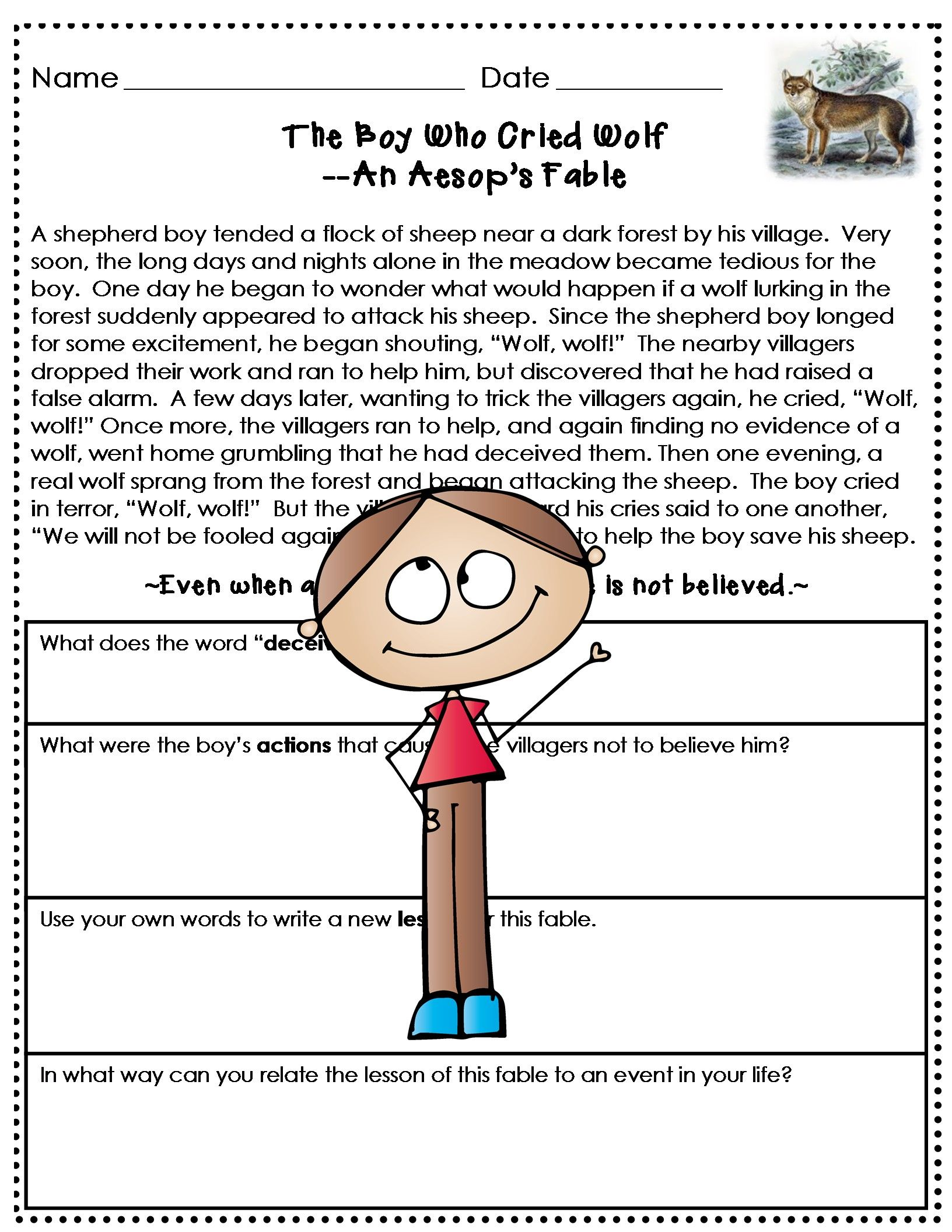 Aesop S Fables Worksheet