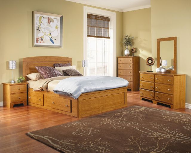 Columbia Panel Captains Bed Assembly bedroom set in Maple by Lang