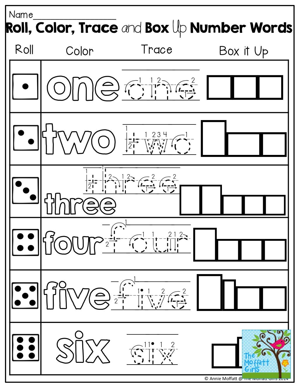 Learning Number Words Roll A Color Trace Or Box Up The Word