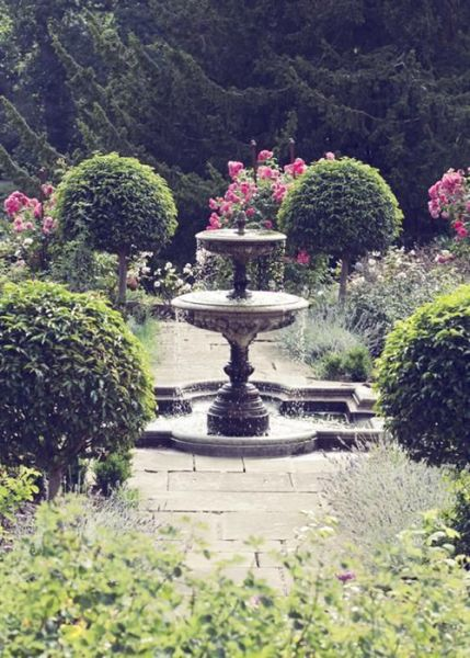 romantic garden fountain An Elegant Castle Wedding | Romantic, Rose and Gardens