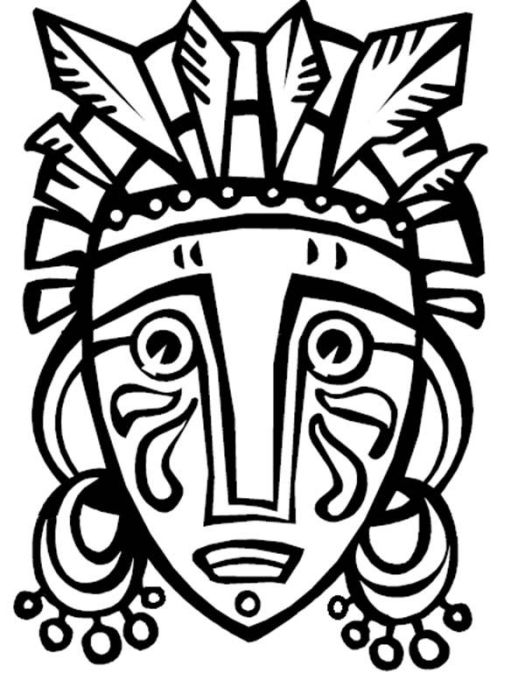 African Tribal Mask Coloring Page Coloring Pages