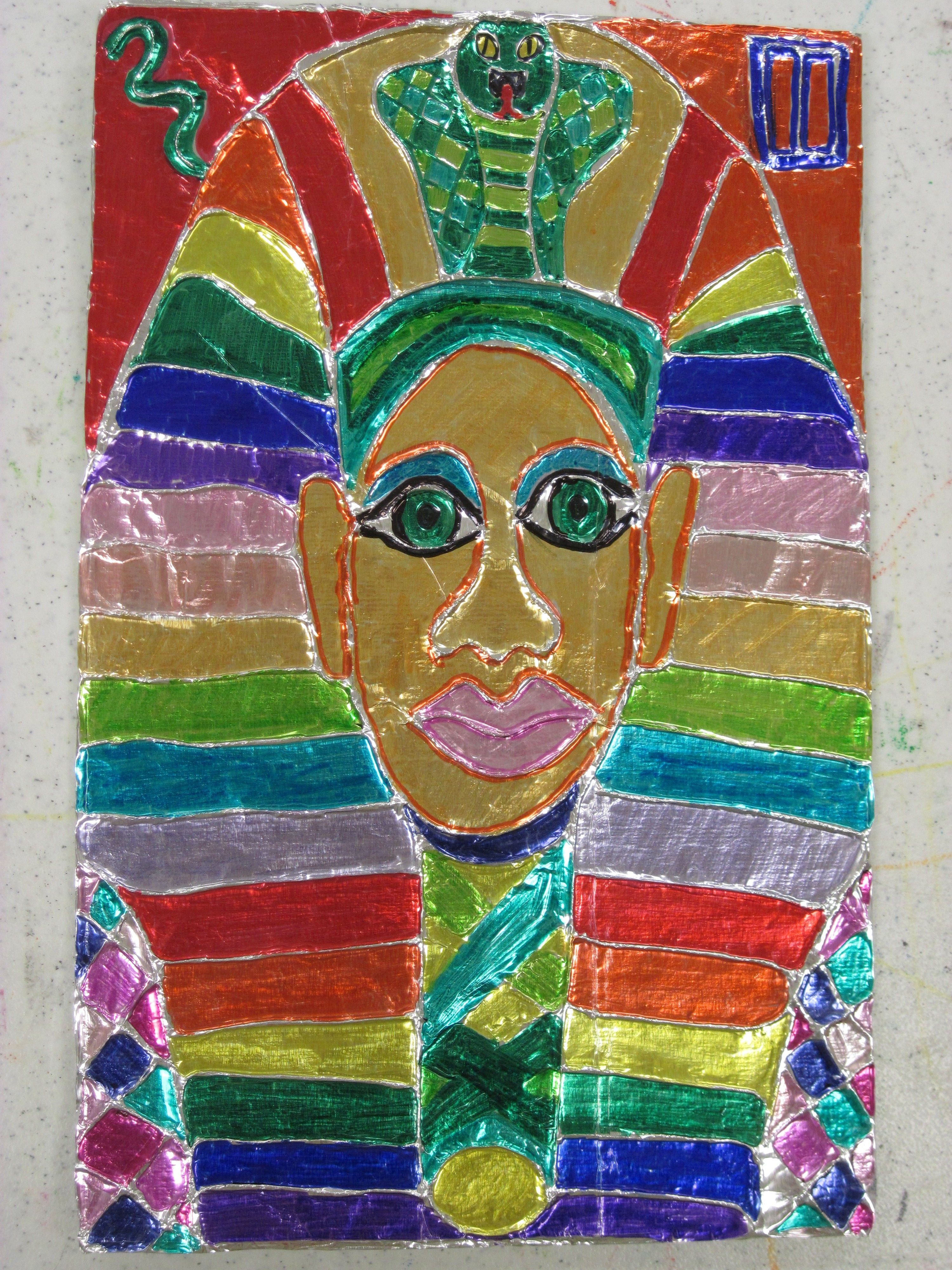 Foil King Tut Colored With Sharpie Kids Draw Tut On