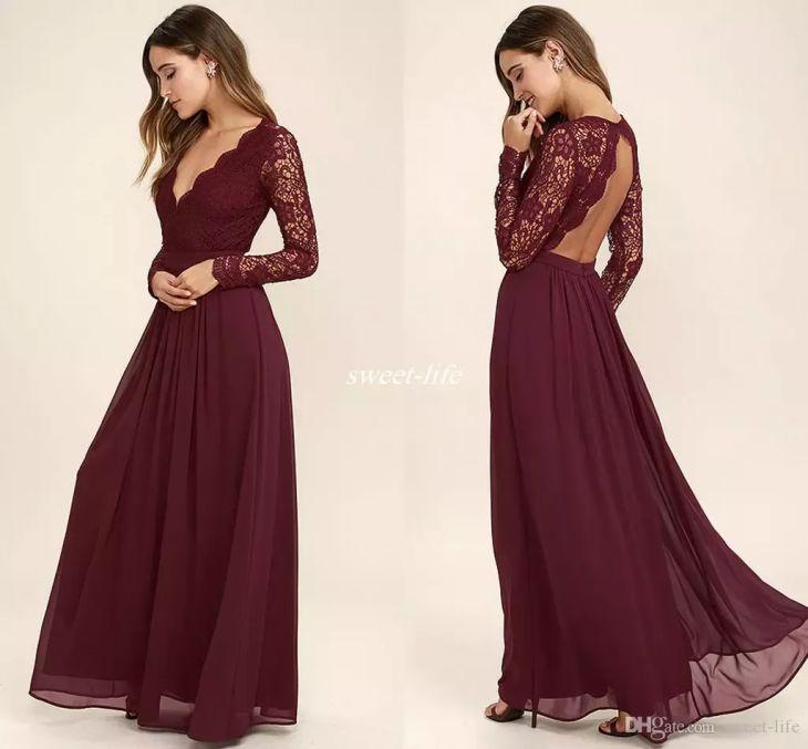 Burgundy Chiffon Bridesmaid Dresses Long Sleeves Western