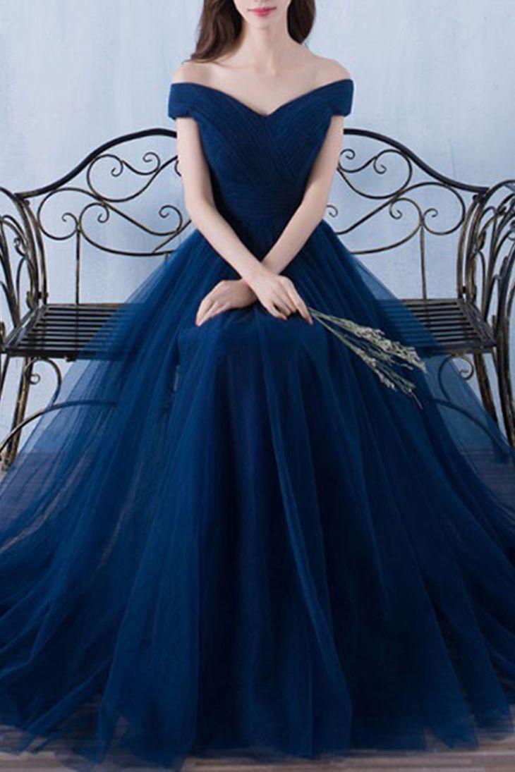Dark blue tulle organza offshoulder Aline long prom dresses