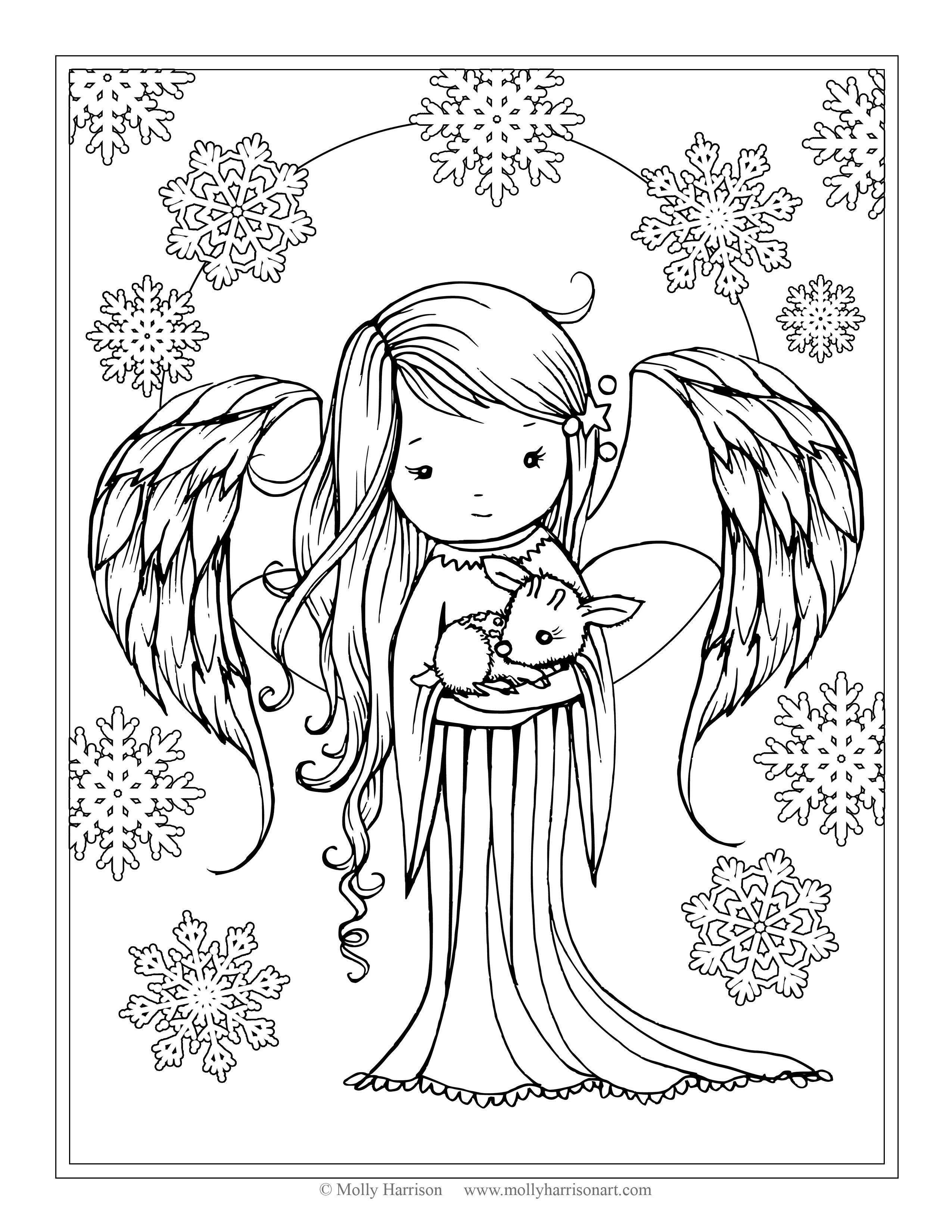 Angel Holding Fawn From The Book Whimsical Winter