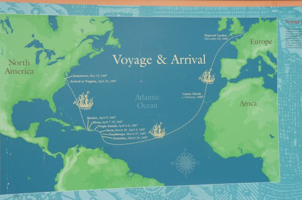 A map marks the voyage from Britain to Jamestown, Virginia ...