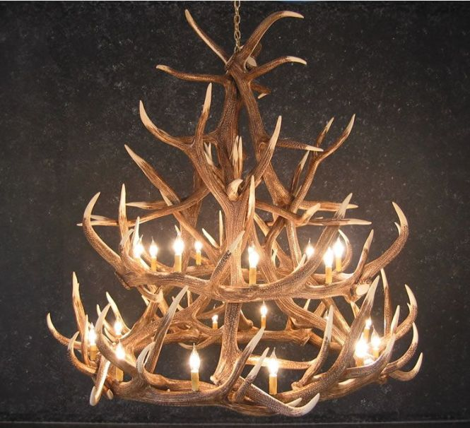 Faux Elk 18 Antler Chandelier At Rocky Mountain Cabin Decor