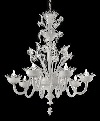 Cream White 8 And 18 Arm Murano Glass Chandelier