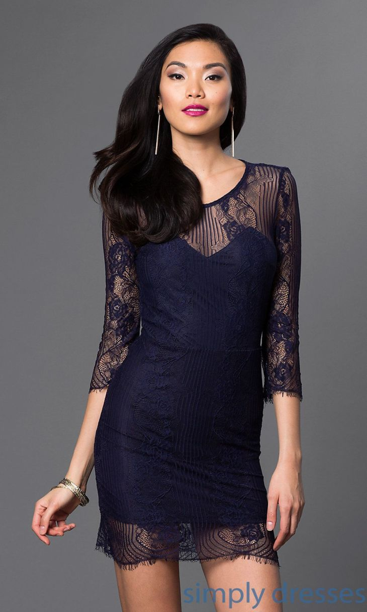 Short SheerLace Cocktail Dress with Sleeves Short party dresses