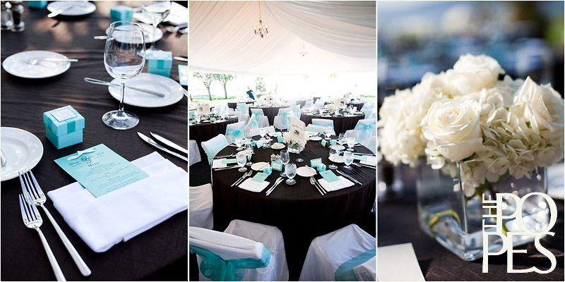 Table Setting-Black Tablecloth, White Chair Covers