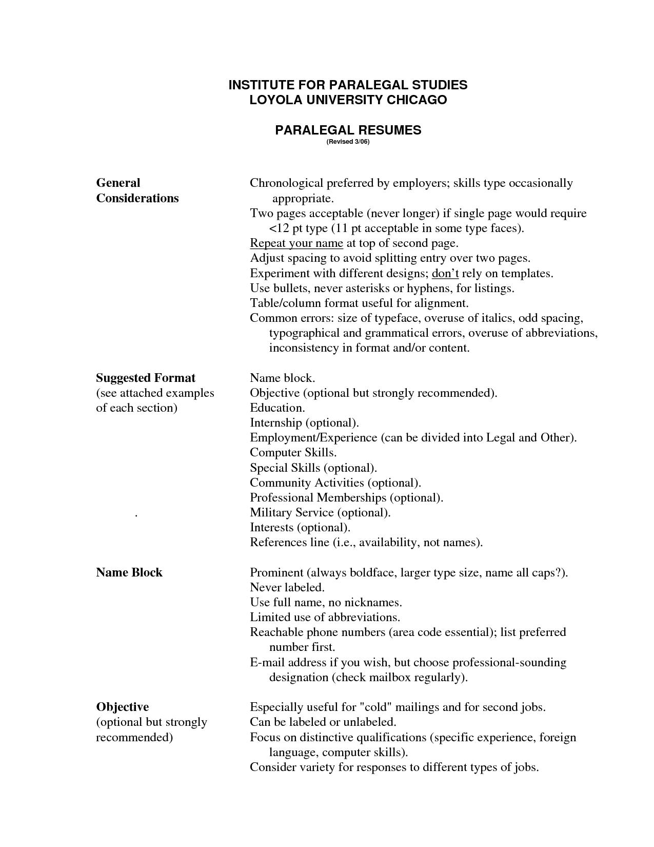 Paralegal Resume Templates - Resume Sample
