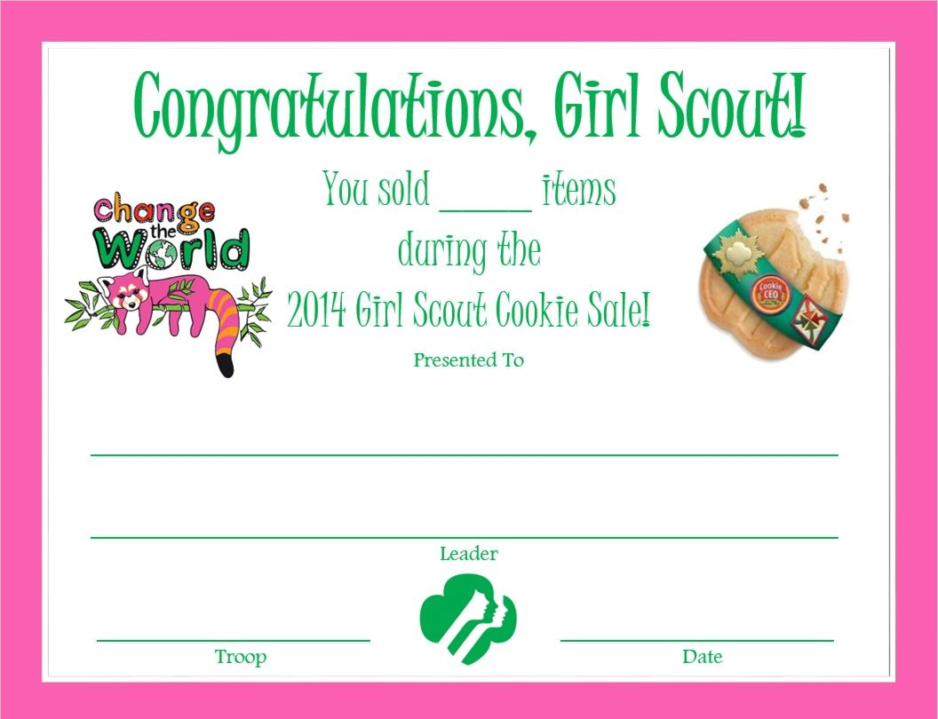 Cookie Sale Certificate