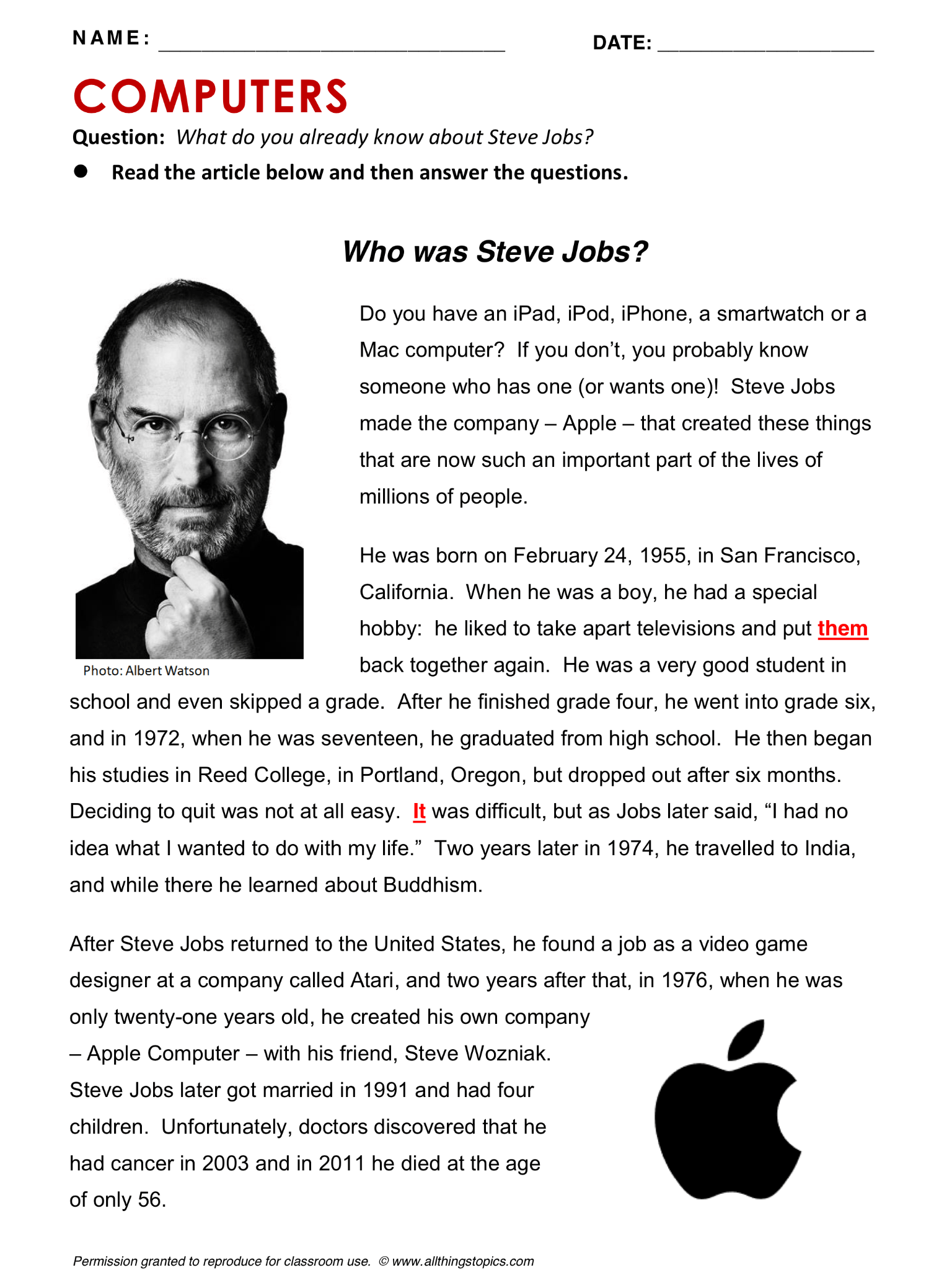 Steve Jobs Computers And Internet English Learning