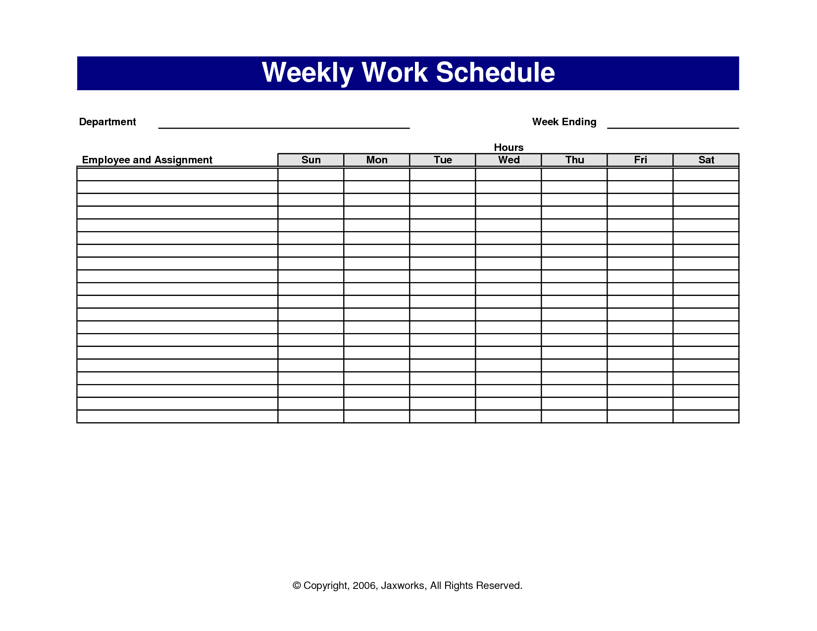 Pictures Of Sample Work Schedules