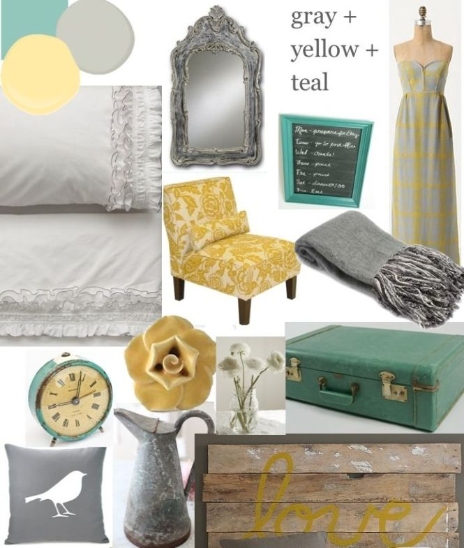 Teal Gray And Yellow Bedroom Color Palette