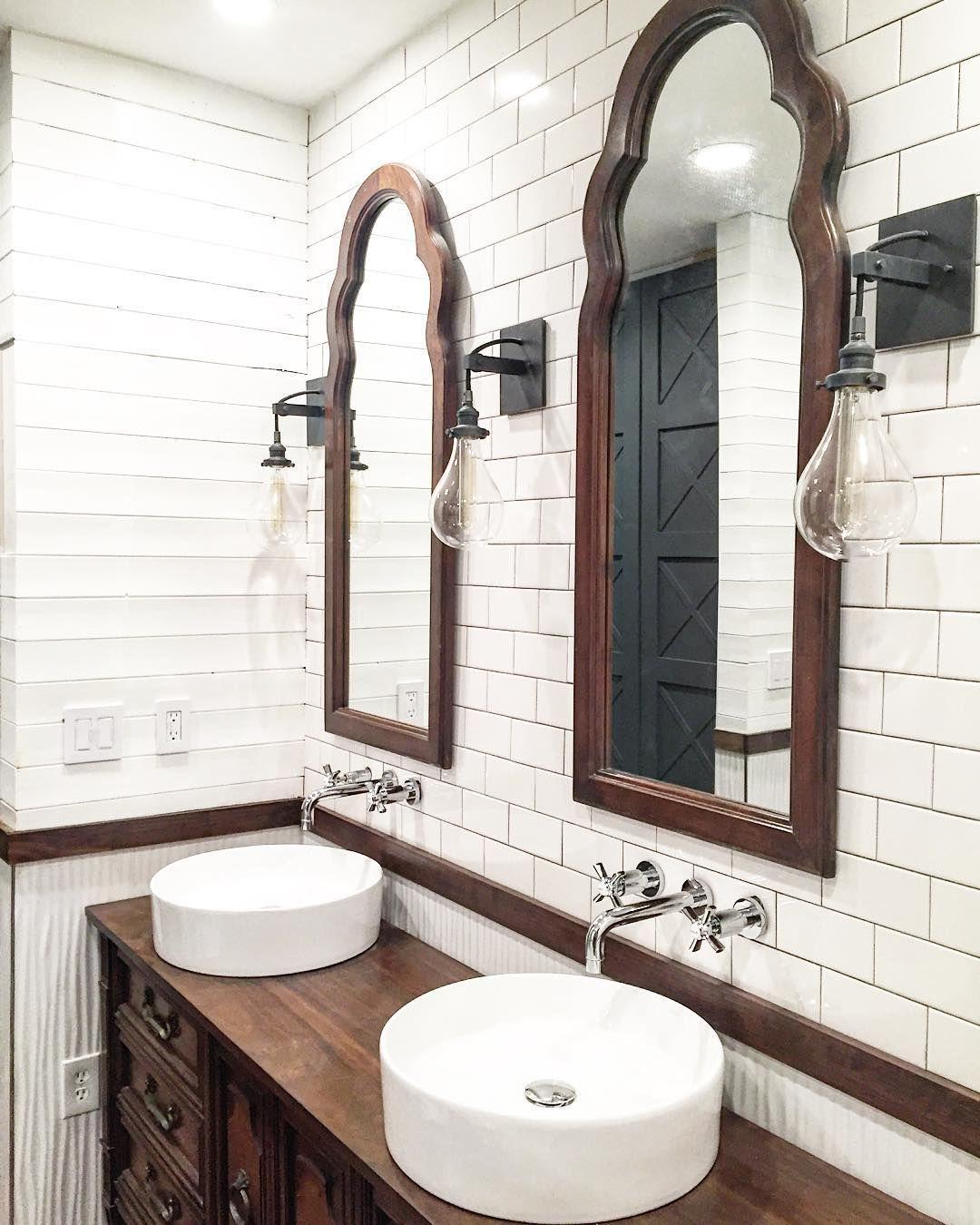 Rustic farmhouse bathroom design with plank walls and ... on Rustic Farmhouse Bathroom Tile  id=82138
