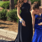 Navy blue jovani prom dress high neck beaded navy blue size