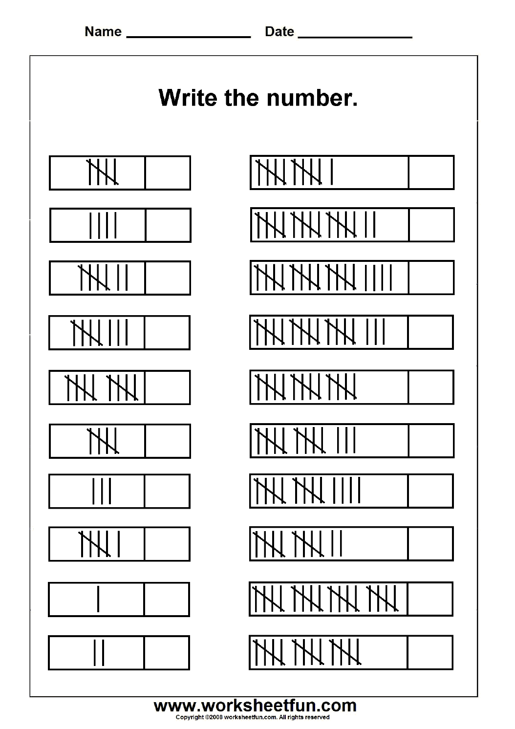 Tally Marks 1 Worksheet Worksheets