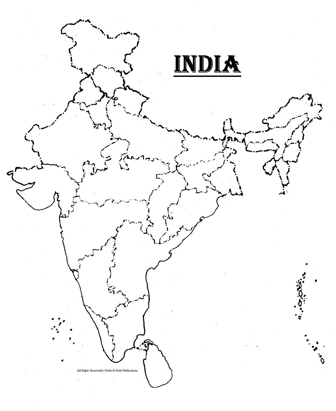 Outline Map Of Political India With Map India Printable