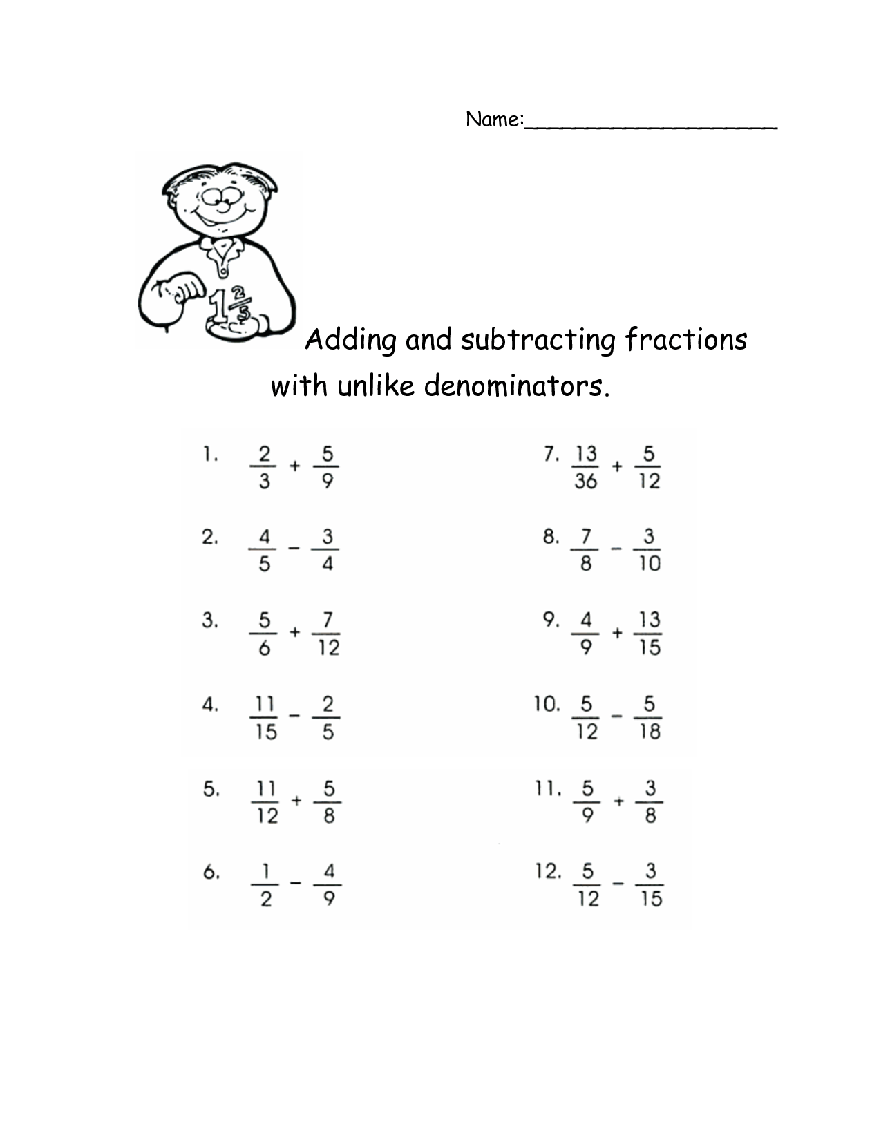 Adding Subtracting Multiplying And Dividing Fractions
