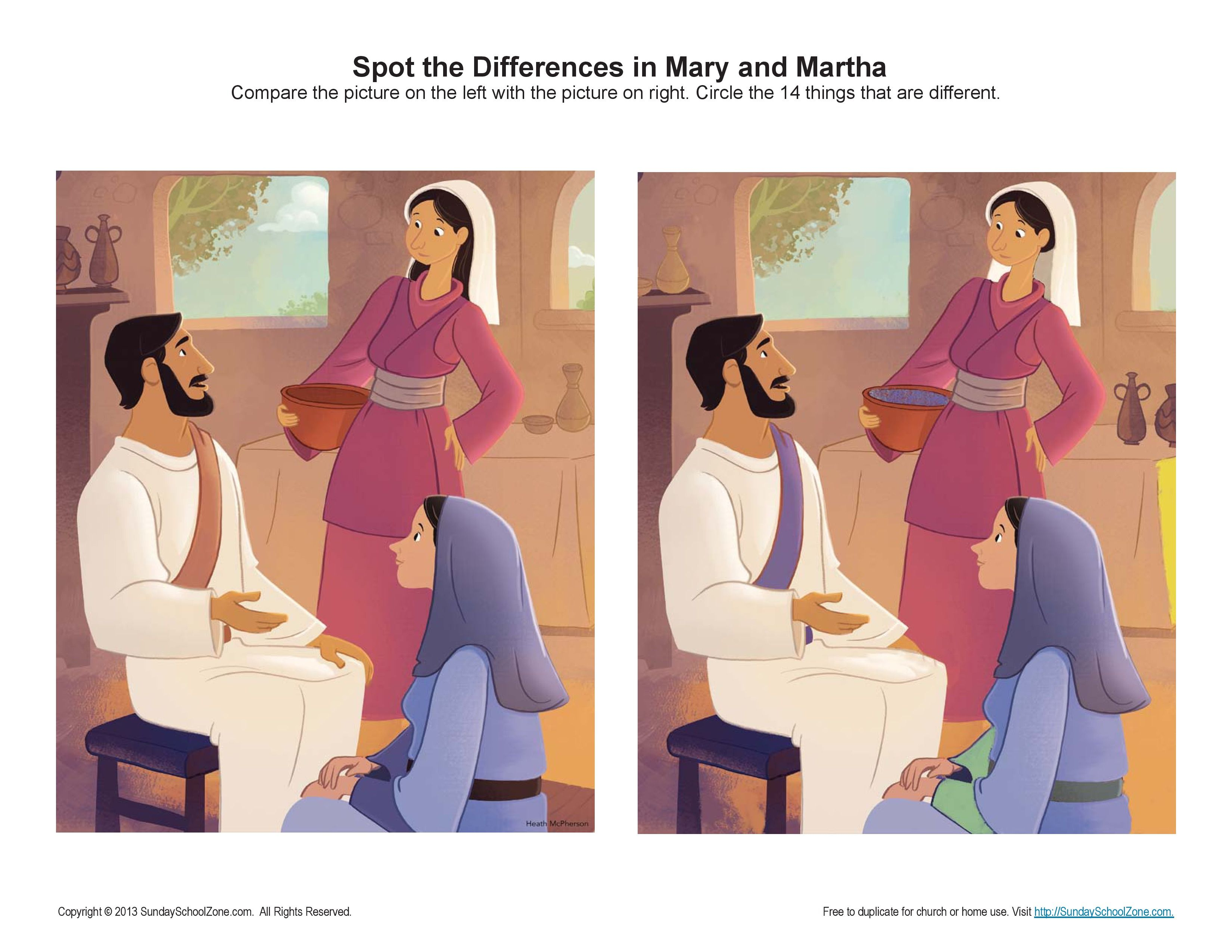 Mary And Martha Spot The Difference Game