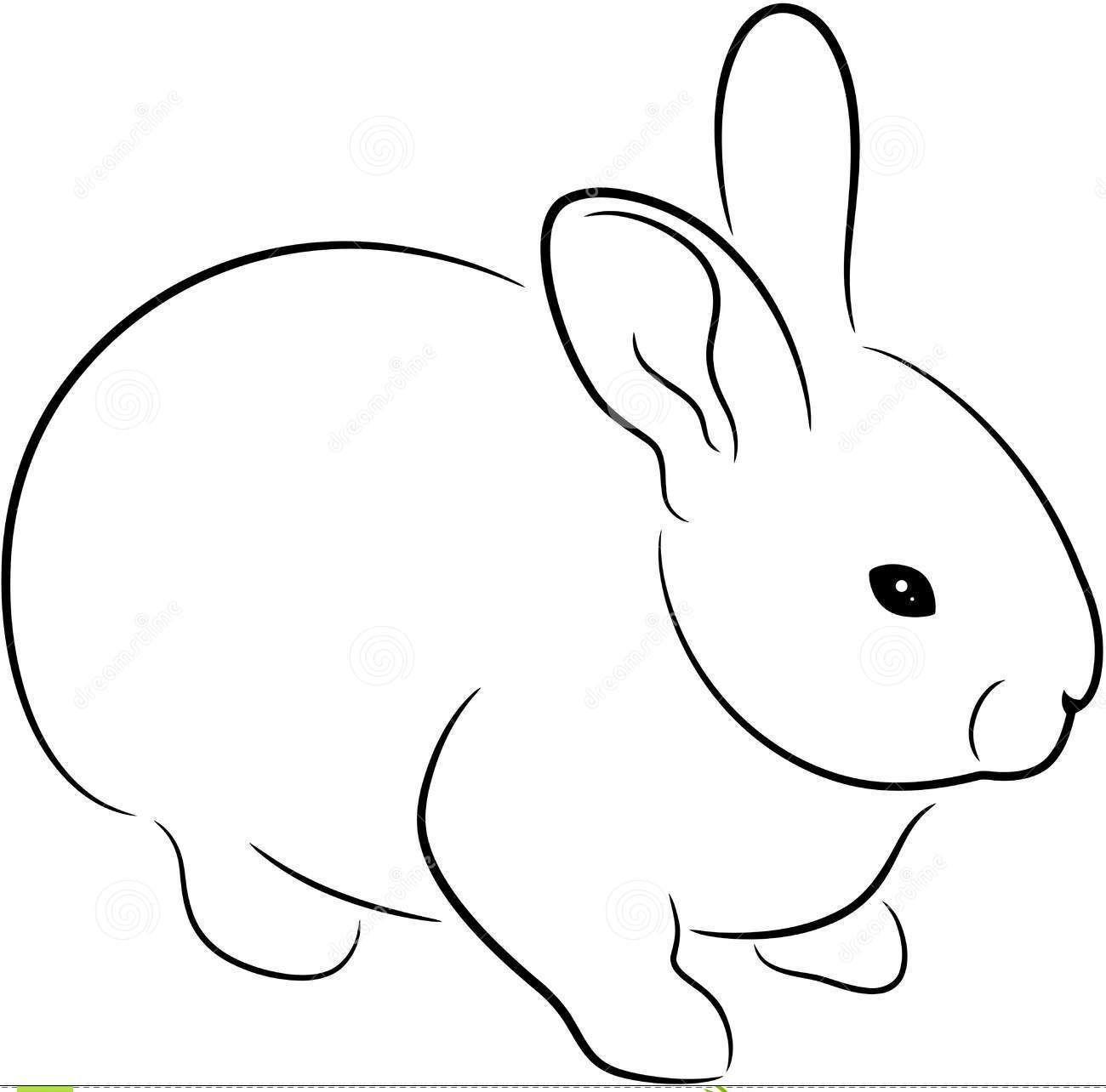 Black Outline Rabbit Tattoo Design