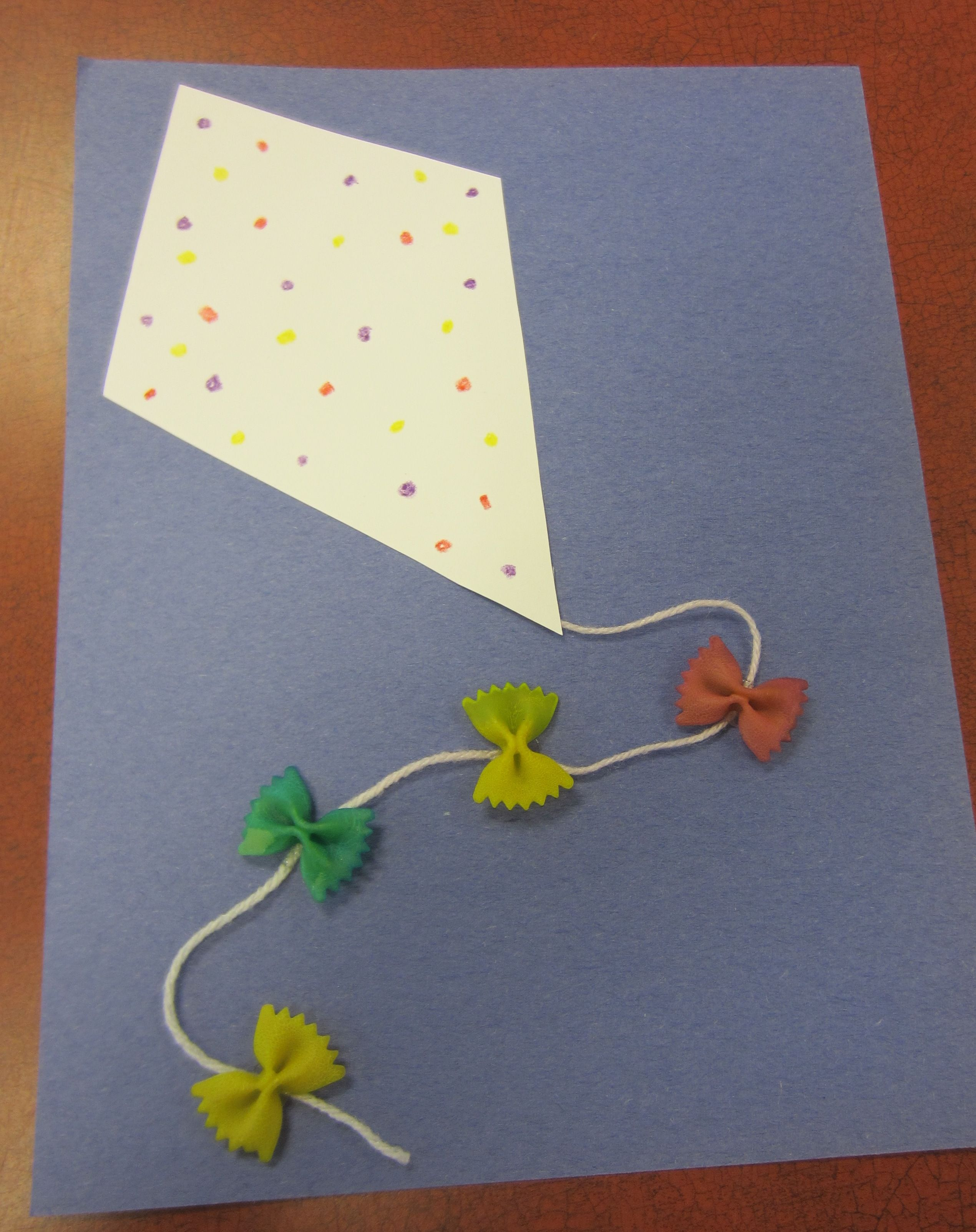 Simple Kite Craft Card Stock Construction Paper Markers Yarn And Dyed Bow Tie Pasta