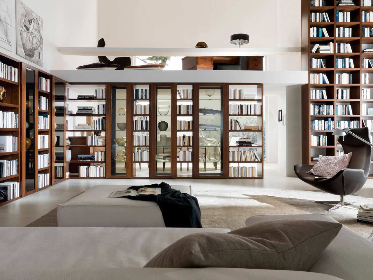Home Library Furniture: Amazing White Home Library Design