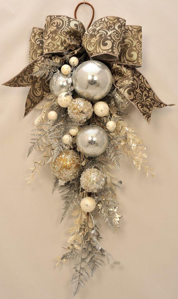 Elegant Christmas Stunning Ornament and Crystal Christmas Swag