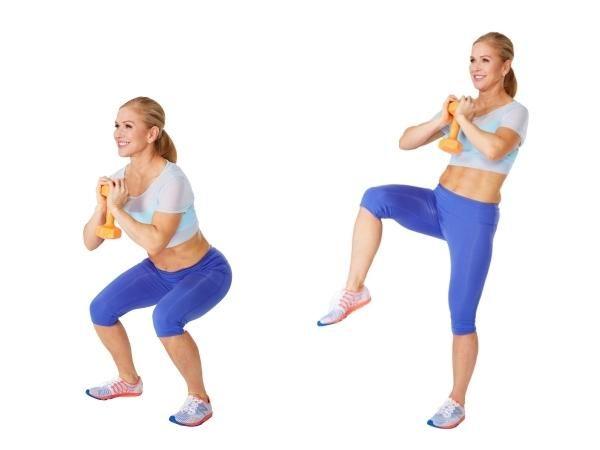 Kết quả hình ảnh cho Deep Squats With Alternating Knee Lift + Twist