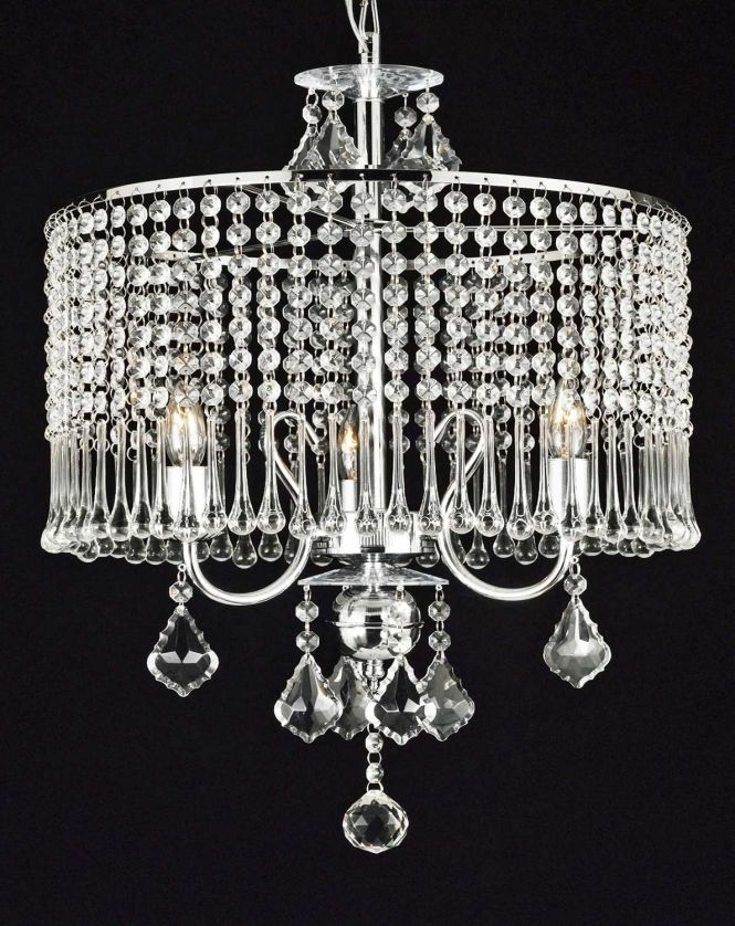 Contemporary 3 Light Crystal Chandelier Chandeliers Lighting With Shade Swag Plug In