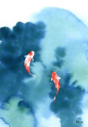 Koi Pond Watercolor 5x7 Print by KitchenFairies on Etsy, $1100 Two that can never be seperated